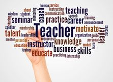 Teacher word cloud and hand with marker concept. On white background stock image