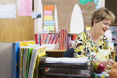 Teacher Working At Desk Stock Photography