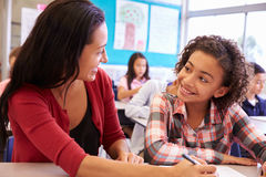 Teacher working with elementary school girl at her desk Royalty Free Stock Photography