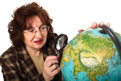 Teacher and world map Royalty Free Stock Photo