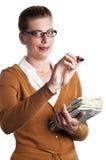 Teacher writes Stock Photo
