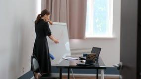 The teacher writes on the whiteboard