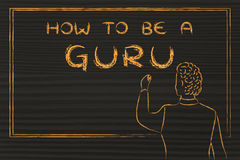Teacher writing on blakboard: how to be a guru Stock Images
