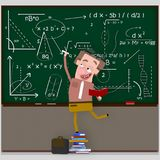 Teacher writing maths formula on chalkboard. 3D. Isolate. Easy background remove. Easy color change. Easy combine Royalty Free Stock Photos