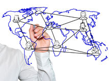 Teacher writing social network connection Stock Photography