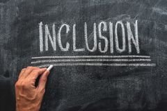 Teacher writing word Inclusion on school blackboard. With chalk, inclusive education stock images
