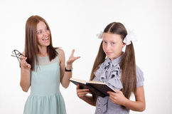 Teacher yelling at pupil Royalty Free Stock Image