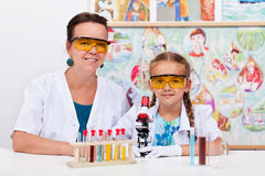 Teacher with young student in science class Royalty Free Stock Images