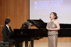 Teacher yuge of xiamen university sing song Stock Image