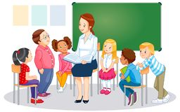 The teachers and children. royalty free illustration