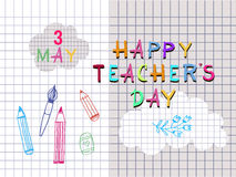Teachers Day5. Happy Teacher`s Day  poster design. Vector doodle quote .Vector illustration Stock Image