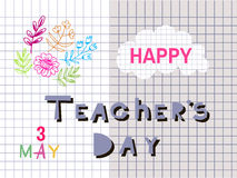 Teachers Day4. Happy Teacher`s Day  poster design. Vector doodle quote .Vector illustration Royalty Free Stock Image
