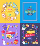 Teachers Day Promo Poster Vector Illustration. Teachers day, literacy day, promotional poster depicting title , books and rulers, fruits and pupils, bags and Stock Image