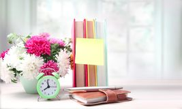 Teachers day,morning day start. Teachers day,8 oclock day start empty copy space blank and background stock photo