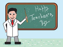 Teachers_day_objects_a_teacher_teaching. Abstract vector illustration on the teachers day theme a teacher standing near at black board Stock Photography