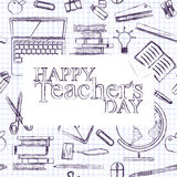 Teachers day.School doodles Supplies Sketchy background, composition.Piece of notepaper .Hand Drawn Vector Illustration Royalty Free Stock Images