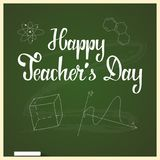 Teachers day set. Happy teachers day greeting card with apple and books Stock Image