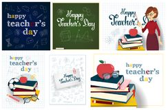 Teachers day set. Happy teachers day greeting cards set with apple and books Stock Photography