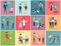 Teachers Day. Set the Teaching Profession. Math and history, geography and labor, chemistry and grammar, etika and literature. Collection banner with people Royalty Free Stock Images