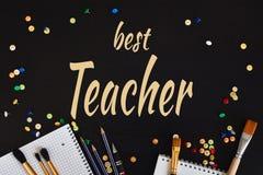 Teachers& feliz x27; Cartão do dia fotografia de stock