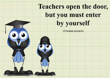 Teachers open the door. Chinese proverb on graph paper background with copy space for own text Royalty Free Stock Image