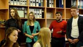 Teachers presenting their university for prospective students. Novosibirsk, Russia - January 15, 2015: Teachers presenting the Novosibirsk State University of stock video footage