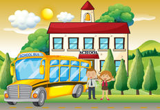 Teachers and school bus at the school. Illustration Royalty Free Stock Image