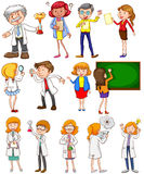 Teachers and scientists in different actions Royalty Free Stock Image