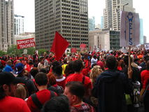 Teachers Strike Chicago R. Thousands of teachers on strike and protesting in downtown Chicago, September 13, 2012 Royalty Free Stock Photos