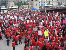 Teachers Strike Chicago S. Thousands of teachers on strike and protesting in downtown Chicago, September 13, 2012 Royalty Free Stock Image