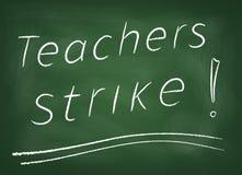 Teachers strike. The school board on which is written in chalk Teachers strike Stock Photo