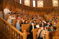 Teachers. A students and teachers attend the opening of the academic year Royalty Free Stock Image