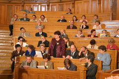 Teachers. A students and teachers attend the opening of the academic year Stock Images