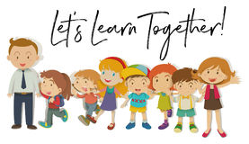 Teachers and students with word let`s learn together. Illustration Stock Photos