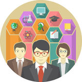 Teachers Team. Conceptual illustration of a teaching team with education icons in hexagons Stock Images
