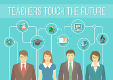 Teachers Team with Educational Icons. Modern flat vector conceptual banner of a teaching staff with education icons. Group of young teachers, men and women with Stock Images