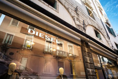 Teaches the store Diesel in Venice. Venice, Italy - February 27, 2017: Diesel S.p.A. is an Italian retail clothing company, located in Breganze, Italy. It sells Royalty Free Stock Photos