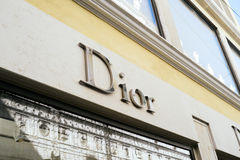 Teaches the store Dior in Venice. Venice, Italy - February 27, 2017: Christian Dior SE, commonly known as Dior, is a French luxury goods company famous in the Royalty Free Stock Image
