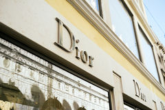 Teaches the store Dior in Venice. Venice, Italy - February 27, 2017: Christian Dior SE, commonly known as Dior, is a French luxury goods company famous in the Royalty Free Stock Photography