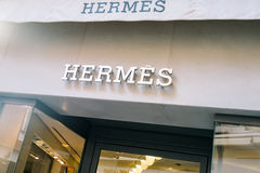 Teaches the store Hermès in Venice. Venice, Italy - February 27, 2017: Hermes sign. Hermes of Paris, or simply Hermès is a French high fashion luxury goods Stock Image