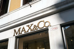 Teaches the store MAX&Co in Venice. Venice, Italy - February 27, 2017: MAX&Co is an Italian fashion trading company which is part of the Max Mara Fashion Group Stock Images
