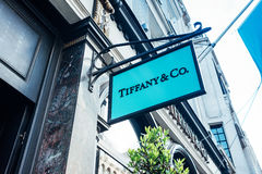 Teaches Tiffany & Co shop. London, United Kingdom - May 23, 2017 : Teaches Tiffany & Co shop in Old Bond Street royalty free stock photography