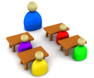 Teaching. Teacher teaching students, 3d figures representing teacher, students in a classroom, learning and coaching concept Royalty Free Stock Photos