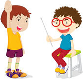 Teaching. Illustration of children play one's role Stock Photo