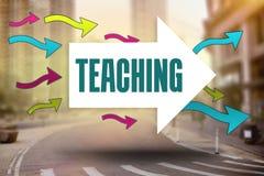 Teaching against new york street. The word teaching and arrows against new york street Royalty Free Stock Photo