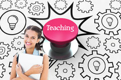 Teaching against pink push button Royalty Free Stock Photos