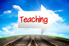 Teaching against railway leading to blue sky. The word teaching and arrow against railway leading to blue sky Royalty Free Stock Photos
