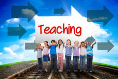 Teaching against railway leading to blue sky Royalty Free Stock Photos