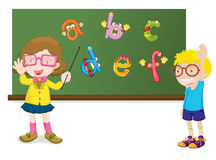 Teaching the alphabet. An illustration of a teacher teaching the alphabet Stock Image