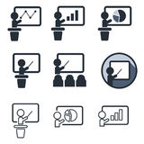 Teaching, audience and charts flat icon set isolated on white. Teaching and audience flat icon set isolated on white. Training or demonstration symbol with Royalty Free Stock Photo